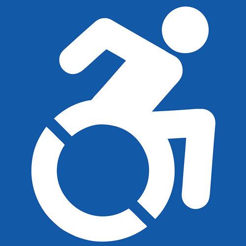 New Wheelchair in motion symbol