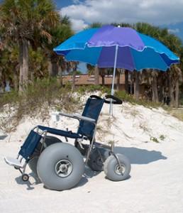 Beach Wheelchair with an umbrella