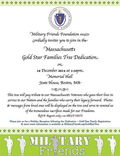 Massachusetts Gold Star Family Tree Dedication